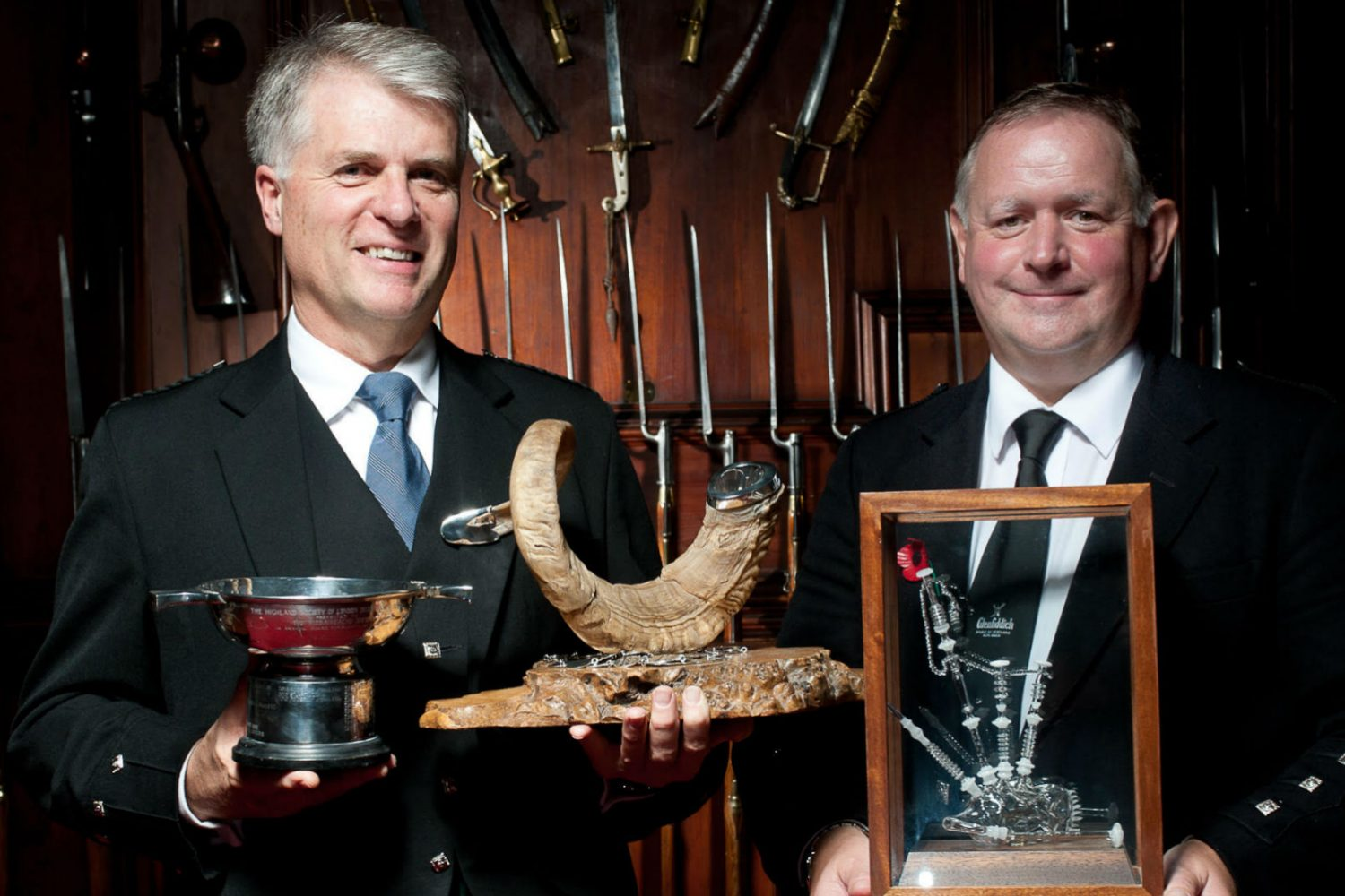 Jack Lee and Roddy MacLeod, winners of the Glenfiddich Piping Championship 2017